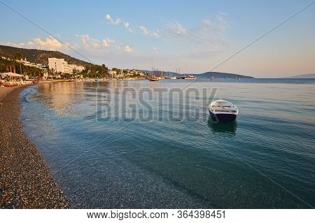 View Of The Gumusluk Bodrum Marina, Sailing Boats And Yachts In Bodrum Town, City Of Turkey. Shore A