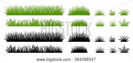 Green And Black Grass Silhouette. Cartoon Weed Field. Lawn Flat Illustration. Vector Eco And Organic