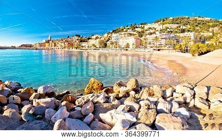 Colorful Cote D Azur Town Of Menton Beach And Architecture Panoramic View, Alpes-maritimes Departmen