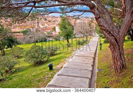 Saint Tropez, French Riviera. Town Of Saint Tropez Green Park Walkway And Architecture View, Famous