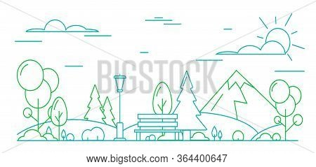 City Park Concept Contour Linear Style Include Of Streetlight, Tree And Bench. Vector Illustration O