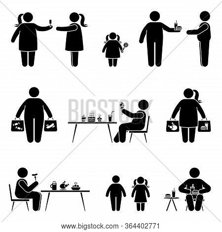 Stick Figure Eating Sweets, Fast Food, Fat Meal, Shopping, Buying Unhealthy Products Vector Icon Pic