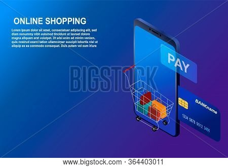 Isometric Smartphone Online Shopping Concept. Concept Of Mobile Marketing And E-commerce On Blue Gra