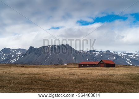 A Typical Dramatic Landscape Of Iceland. Landscape Stock Photo Of Scandinavia.