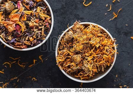 Dried Calendula Tea And Mix Tea With Dried Flowers And Dried Fruits.