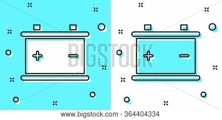 Black Line Car Battery Icon Isolated On Green And White Background. Accumulator Battery Energy Power
