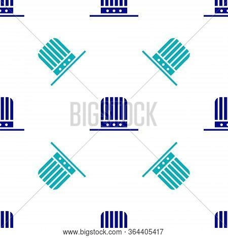 Blue Patriotic American Top Hat Icon Isolated Seamless Pattern On White Background. Uncle Sam Hat. A
