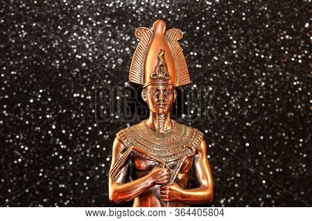 Bronze Statuette Of The Egyptian Tutankhamun. Figure Of The Pharaoh.