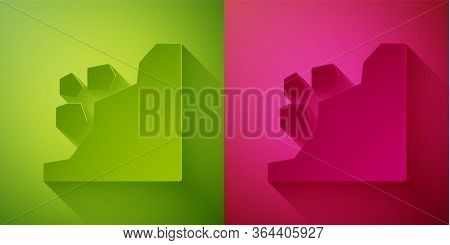 Paper Cut Landslide Icon Isolated On Green And Pink Background. Stones Fall From The Rock. Boulders