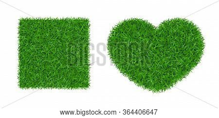 Green Grass Background 3d Set. Lawn Greenery Nature Heart. Abstract Soccer Field Texture Square. Gro