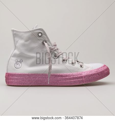 Vienna, Austria - February 19, 2018: Converse Chuck Taylor All Star High White And Pink Sneaker On W