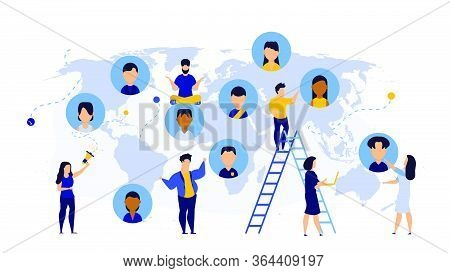 World Business Earth Map Global Technology Consulting Team. Cooperation Globe Idea Teamwork With Man
