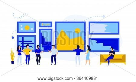 Art Business Gallery Visitor People Man And Woman Illustration Exhibition. Museum Painting Modern Ar