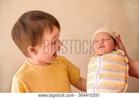 Father Introduces To Little Toddler Boy Infant Baby Sister. Portrait Of Little Kid With Hilarious Fa