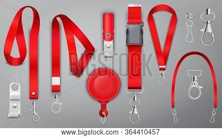 Red Lanyards With Metal Claw Clasp Vector Illustration