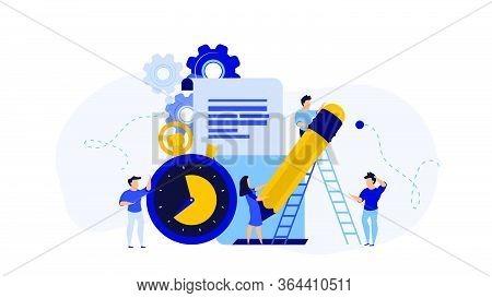 Business Student Plan Work Full Time Vector Entrepreneurship Service Illustration. Agenda Appointmen