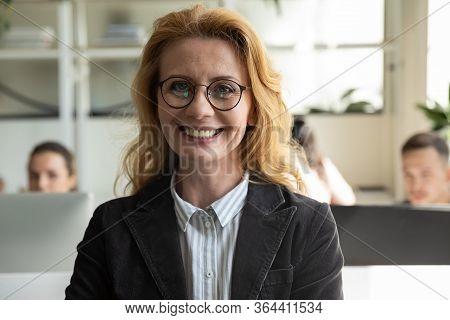 Close Up Headshot Portrait Picture Of Happy Attractive Mature Businesswoman.
