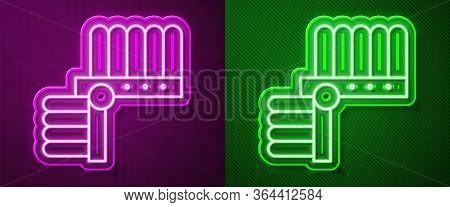 Glowing Neon Line Indian Headdress With Feathers Icon Isolated On Purple And Green Background. Nativ