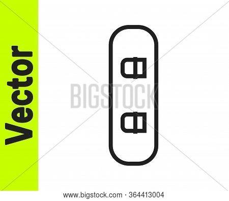 Black Line Snowboard Icon Isolated On White Background. Snowboarding Board Icon. Extreme Sport. Spor