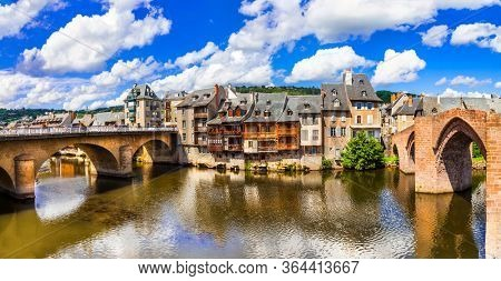 Espalion - one of the most beautiful villages of France. Aveyron department, Lot river