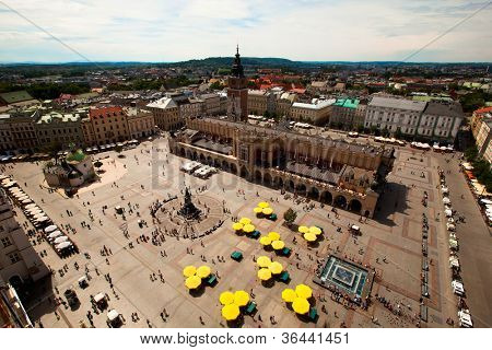 View of the Main Square (Polish: Rynek Glowny w Krakowie) is the main market square of the Old Town in Krakow, Poland. poster
