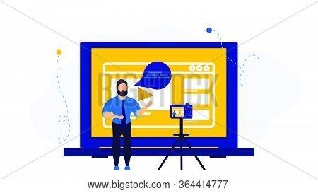 Video Vloger Business Vector Illustration Concept. Web Vlog Design Social Media Broadcast Advertisin