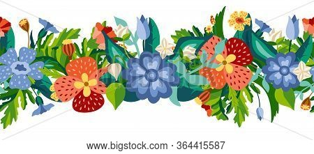 Gorizontal Wild Flower Seamless Border In Flat Style. Meadow Herbs Isotaled On White Background. Dec