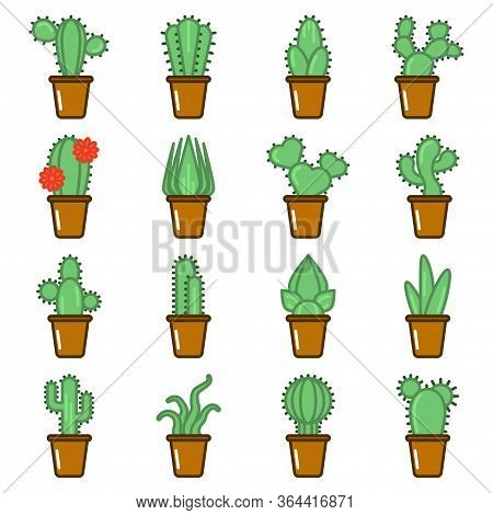 Set Of Multicolored Cactus Icons. Cartoon Image Of Various Varieties Of Cacti In Pots. Isolated Vect