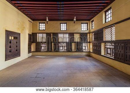 Rosetta, Egypt- February 1 2020: Interior Wall With Decorated Lattice Wooden Windows, Mashrabiya, An