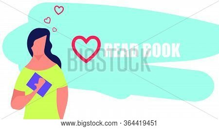 Love Read Book Vector Flat Illustration Education. Women Reading Literature Art Study Background. Gi