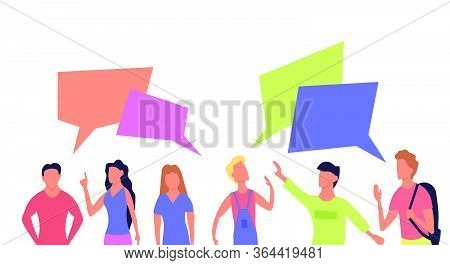 People Talk Communication Vector Flat Illustration. Set Character Portrait With Chat Bubble Icon. Sp