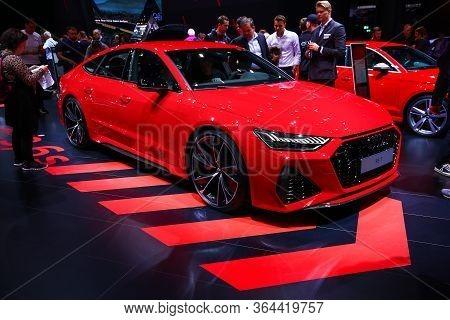 Frankfurt Am Main, Germany - September 18, 2019: Red Sportscar Audi Rs7 Presented At The Frankfurt I