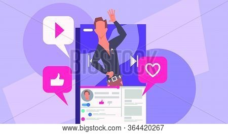 Man Blogger Vector Illustration Communication Internet. Online Blog On Smartphone Concept Social Mob