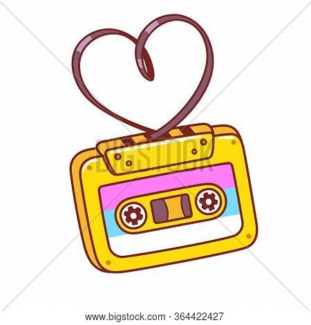 Cartoon Retro Audio Cassette With Tape In Heart Shape. 80s Love Songs Mixtape. Bright Comic Style Cl