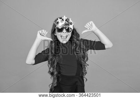 Kid Wear Sunglasses And Crown. Royal Celebration. Queen Of Parties. Carnival Party. Masquerade Conce