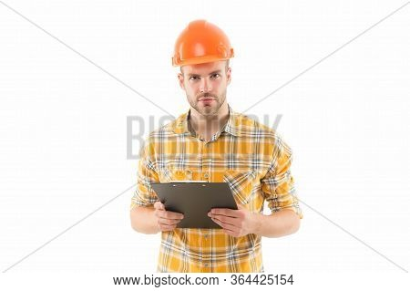 Doing His Best. Professional Construction Manager. Building Designer Isolated On White. Architectura