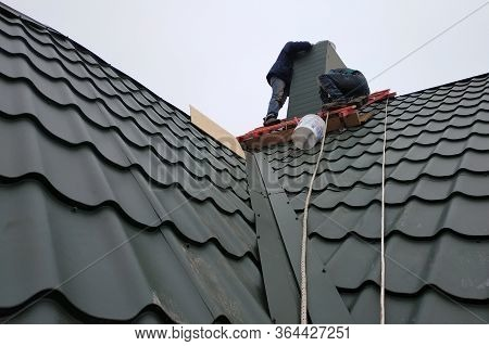 Working With Roofing Material, Metal Roof, Hand Tools Screwdriver.2020