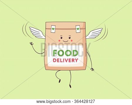 Express Food Delivery. Cartoon Kawaii Paper Package With Foodstuff Flying In The Air. Cute Character