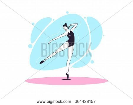 Graceful Ballerina Woman In Outline Minimalist Style. Ballet Dancer Stands On One Leg, Outstretched