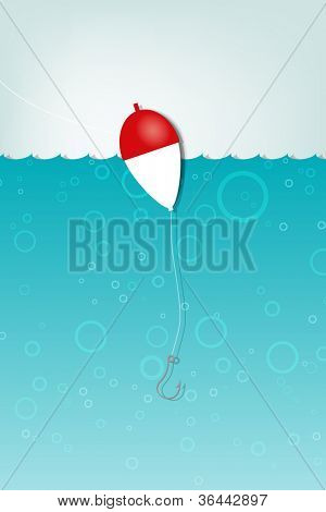 Float fishing with a hook underwater. Vector applique.