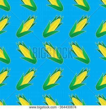 Organic Yellow Fresh Corn Pattern. Natural Gold Sweet Food Background. Summer Golden Vegetarian Swee