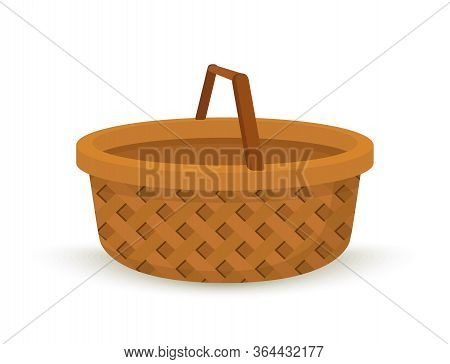 Vector Wicker Basket, Handcrafted Willow Box With Handle