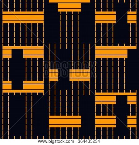 Geometric Seamless Pattern. Bauhaus Background. Modern Barcode Print. Broken Asymmetric Hatched Stri