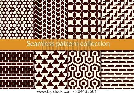 Geometric Seamless Pattern Collection. Geo Background Set. Hexagon, Triangle, Brickwall, Arrow, Circ