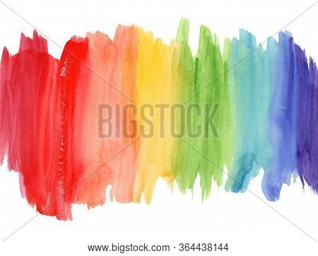 Bright Vertical Rainbow Colors Watercolor Lines Border Background. Colorful Striped Gradient Flag Fr