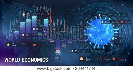 Cryptocurrency And Coronavirus, Pandemic Impact On The Cryptocurrency Market. 3d Virus Bacterium Wit