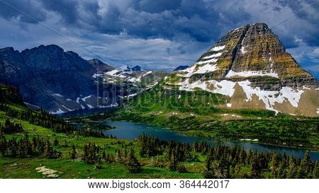 2408_dark Clouds Roll In At Hidden Lake As Bear Hat Mountain Stands Watch - Glacier National Park, M
