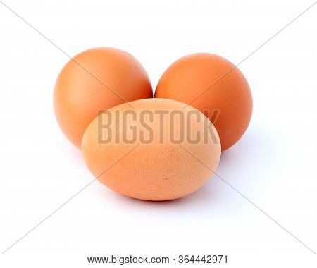 Three Eggs Isolated On A White Background. Healthy Food. Fresh Eggs