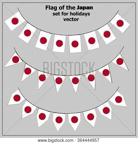 Bright Set With Flag Of Japan. Happy Japan Day Flags. Colorful Collection With Flag. Illustration Wi