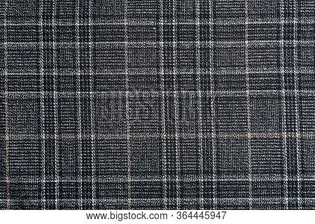 Texture Of Beautiful Checkered Fabric As Background, Closeup